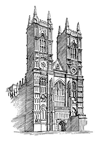 Westminster Abbey or gothic architecture, great church in England, vintage line drawing or engraving illustration.
