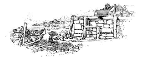 Une photo de l'océan avec de petites maisons et des bateaux d'un côté, un dessin de ligne vintage ou une illustration de gravure. Vecteurs