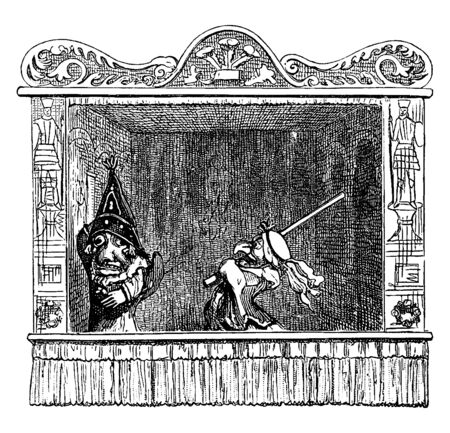 Punch and Judy Show is beating Punch with a long stick, vintage line drawing or engraving illustration.