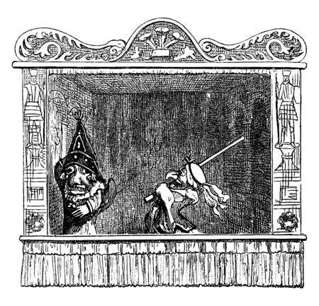 Punch and Judy Show schlägt Punch mit einem langen Stock, einer Vintage-Linienzeichnung oder einer Gravurillustration.