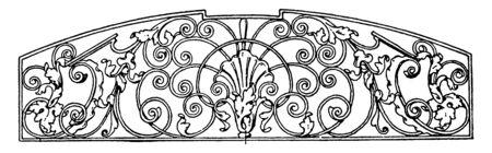 Schmiedeeiserne Grillplatte ist ein Design der späten deutschen Renaissance, es befindet sich in einem Rathaus in Villingen, Vintage-Linienzeichnung oder Gravur.