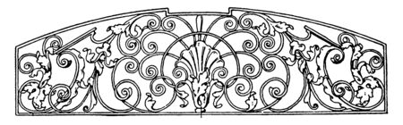 Wrought-Iron Grill Panel is a late German Renaissance design, it is found in a townhall in Villingen, vintage line drawing or engraving.