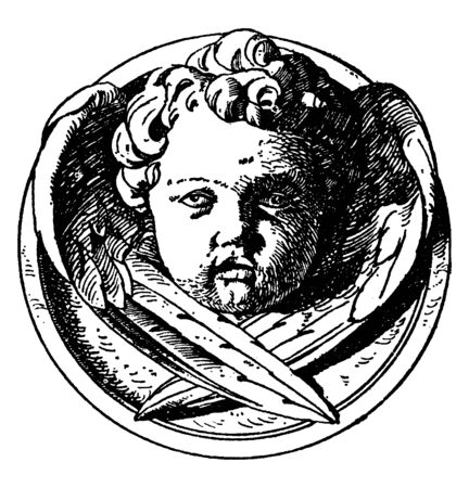 Modern Cherub Head is a design on a medallion, It is a winged angel face, vintage line drawing or engraving illustration.