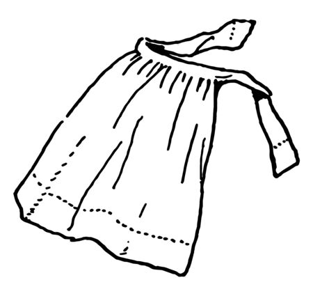 Apron are ties around the waist, vintage line drawing or engraving illustration.