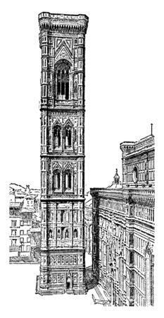 Il Campanile di Giotto si erge sulla piazza del Duomo, complesso di edifici, ricche decorazioni scultoree, disegno di linee d'epoca o illustrazione incisione.