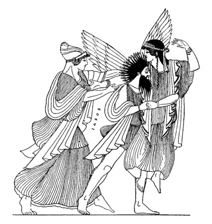 This is the Boreas carrying off Orithyia. There are three men who has wearing long historical gown, vintage line drawing or engraving illustration.