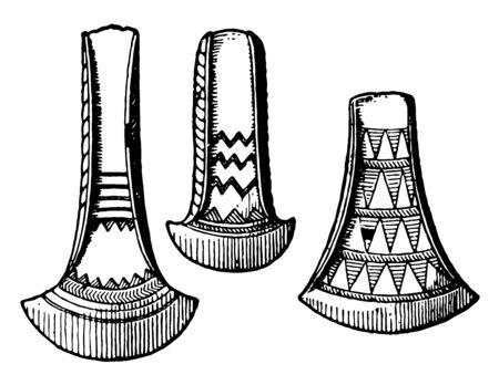This illustration represents function of Bronze Age Bronze Celts, vintage line drawing or engraving illustration. Ilustração