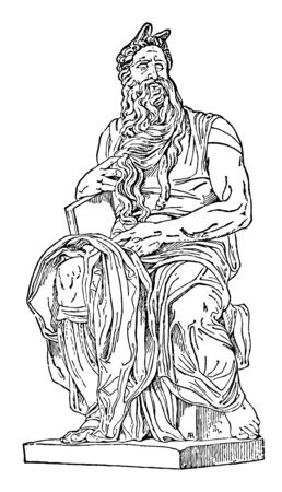Moses Sculpture is a sculpture by the Italian High Renaissance artist Michelangelo Buonarroti, vintage line drawing or engraving illustration.