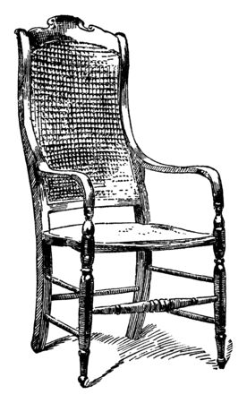 General Lee's Chair is simple armchair with sleek armrest and slightly long and wide backrest, vintage line drawing or engraving illustration