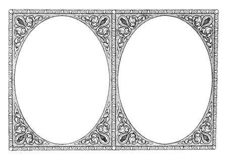 Double Border are like mirror in this pattern, vintage line drawing or engraving illustration.