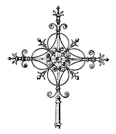 This is the sign of steeple cross that is on top of the Lutheran Church which is in Paris, vintage line drawing or engraving illustration.