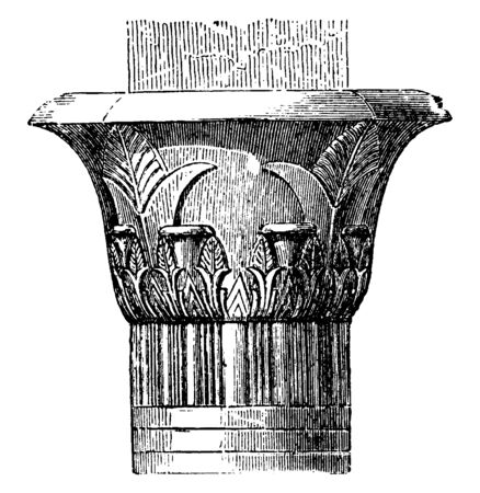Capital in the Temple at Edfu, Crown, architecture, inverted, bell, pilaster, vintage line drawing or engraving illustration. 向量圖像