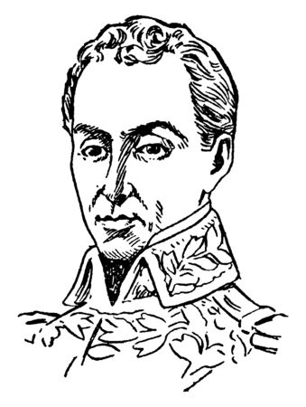Simon Bolivar, 1783-1830, he was a military and political leader who played a leading role in the establishment of Venezuela, Bolivia, Colombia, Ecuador, Peru and Panama, vintage line drawing or engraving illustration Ilustração