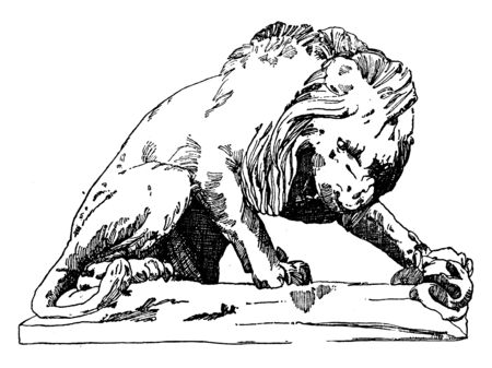 Lion Tuileries is a statue of a lion found in a palace in Paris, vintage line drawing or engraving illustration. Vettoriali