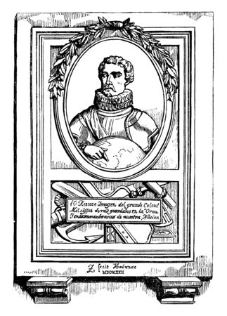 Christopher Columbus, 1451-1506, he was an Italian explorer, navigator, first governor of the Indies, and colonizer who discovered route to the Americas while in search of the Indies, vintage line drawing or engraving illustration Archivio Fotografico - 133023156