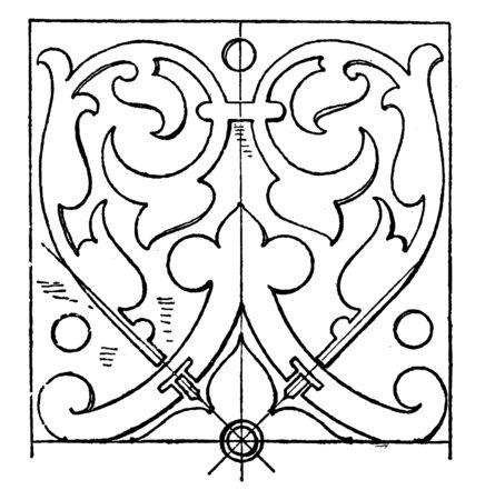 Renaissance Oblong Panel is a design found on a tomb in Stuttgart, vintage line drawing or engraving illustration.