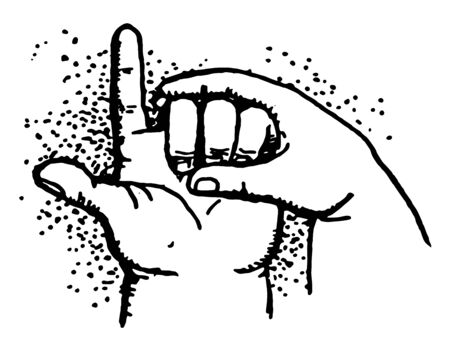 Five Minus has A child subtracting with his Three fingers, vintage line drawing or engraving illustration.