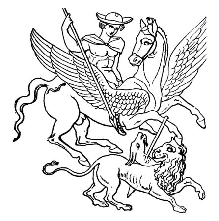 Portrait showing Bellerophon killing an animal with spear. Animal first half was of eagle shape and rest body was of Lion, vintage line drawing or engraving illustration. 일러스트