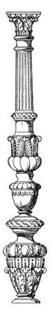 Candelabrum-Like Column Profiled Shaft, moulded, square, lathe-turned, vintage line drawing or engraving illustration.