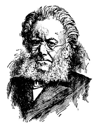 Henrik Ibsen, 1828-1906, he was a major nineteenth-century Norwegian playwright, theatre director, and poet, vintage line drawing or engraving illustration Ilustrace