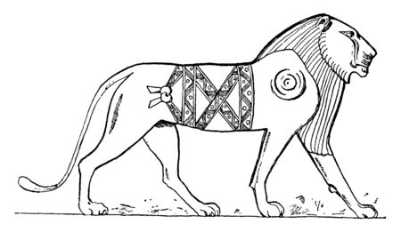Egyptian Lion is a relief with sunken outlines, vintage line drawing or engraving illustration.