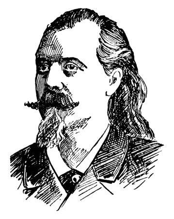 W. F. Cody, 1846-1917, he was an American scout, bison hunter, and showman who created Buffalo Bills Wild West Show, famous as Buffalo Bill, vintage line drawing or engraving illustration