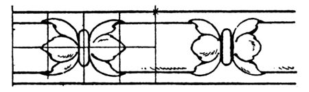 Rich Enrichment Bead Moulding found on door and window arches, work leads to an increase moulding and pilasters, vintage line drawing or engraving illustration.