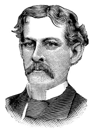 James Gordon Bennett, 1795-1872, he was the founder, editor and publisher of the New York Herald and a major figure in the history of American newspapers, vintage line drawing or engraving illustration Archivio Fotografico - 133023054