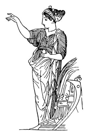 Wisdom goddess Athena holding a ball in her left hand, vintage line drawing or engraving illustration.