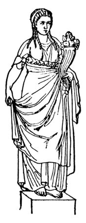 A lady standing on the raised platform. Known as Abundantia in ancient Roman religion and is considered to be goddess of abundance, vintage line drawing or engraving illustration.