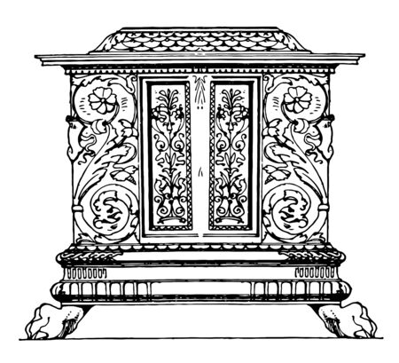 Renaissance chest originated from Italy is square shaped box used for storage has beautiful ivory, metal engraving on its wall, vintage line drawing or engraving illustration Stock Illustratie