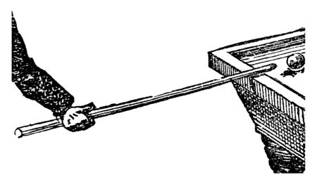 In this picture this is the straight rod used in playing billiards. There is a ball on board, vintage line drawing or engraving illustration. Ilustração