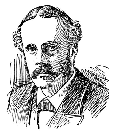 Arthur James Balfour, 1848-1930, he was a British statesman and prime minister of the United Kingdom from 1902 to 1905, vintage line drawing or engraving illustration Çizim
