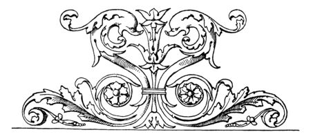 Dolphin Frieze is a part of a larger frieze found in Rome at the Arco della chiesa nuovo, vintage line drawing or engraving illustration.