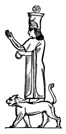 An ancient picture of the Greek duke of hell Ashtaroth. The Canaanite fertility goddess and accompaniment of Baal, vintage line drawing or engraving illustration.