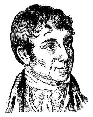 Charles B. Brown, 1771-1810, he was an American novelist, historian, and editor of the early national period, vintage line drawing or engraving illustration Illusztráció