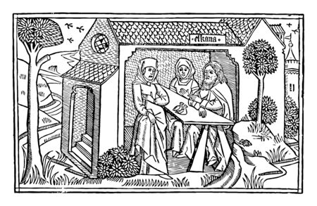 The Grief of Hannah from the engraving on Cologne bible, vintage line drawing or engraving illustration.