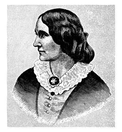 Alice Cary, 1820-1871, she was a famous American poet, vintage line drawing or engraving illustration Ilustração