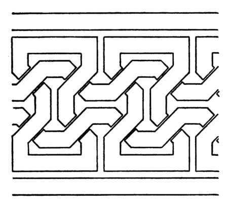 Simple Moorish Interlacement Band is a antic design, it is a very simple, vintage line drawing or engraving.
