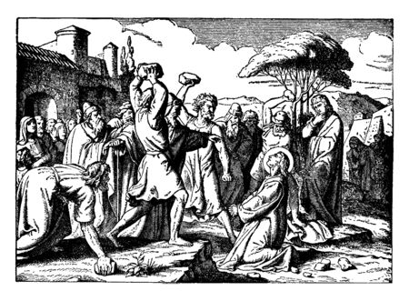 A picture in which Man is prayer to God by looking up to heaven when Several men raise stones  to throw on him , Women also standing in the crowd & closing their eyes, vintage line drawing or engravin