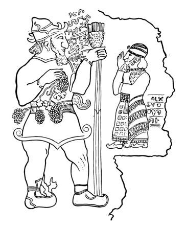 In this image A bas-relief at Ibreez in Asia Minor. It represents a god and his royal worshipper, vintage line drawing or engraving illustration.