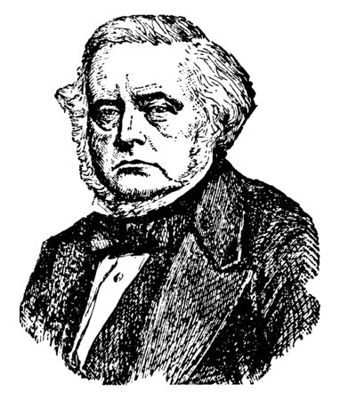 John Bright, 1811-1889, he was a British radical and liberal statesman, orator, and promoter of free trade policies, famous for battling the Corn Laws, vintage line drawing or engraving illustration