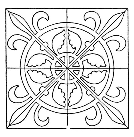Medieval Square Panel is decorated with a repeated design, vintage line drawing or engraving illustration. Иллюстрация