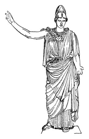 Statue of Athena with helmet on her head waving her hand in the air, vintage line drawing or engraving illustration.