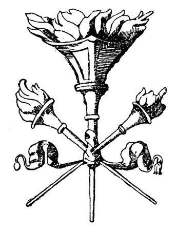 Crossed Torches was used as the upper part of a pilaster, It was designed by Benedetto da Majano, vintage line drawing or engraving.