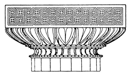 Graeco-Doric Capital, an antique design, the upper termination of a column, the simplest of the five Classical orders, abacus above an ovolo molding, vintage line drawing or engraving illustration.  Illustration