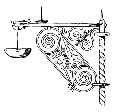 Wrought-Iron Bracket is a bearer of a water-stoup, style and durable support, vintage line drawing or engraving illustration.