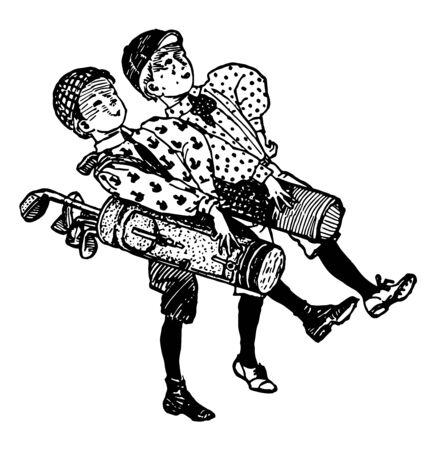 Two boys are carrying golf bags over their shoulders, vintage line drawing or engraving illustration.