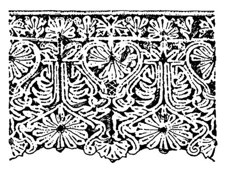 Old Point Lace Border is a form of textile art that has a combination of the conventional treatmentits, its  a delicate hand-work, vintage line drawing or engraving illustration.