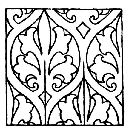 Painting Pattern is a 15th century design, its found on an old cabinet in Germany, vintage line drawing or engraving illustration. Ilustração